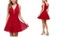 City Studios Juniors' V-Neck Glitter Lace Dress