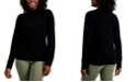 Karen Scott Mock-Neck Cable-Trim Sweater, Created for Macy's