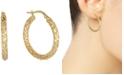 Italian Gold Small Snake Texture Hoop Earrings in 10k Gold