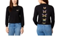 Rebellious One Juniors Cotton Long-Sleeve Butterfly Back Graphic Top