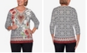 Alfred Dunner Women's Plus Size Catwalk Medallion Border Knit Top