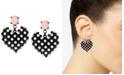 Betsey Johnson Black-Tone Imitation Pearl Heart Earrings