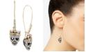 Betsey Johnson Two-Tone Pavé Skull Long Drop Earrings