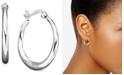 "Giani Bernini Small Sterling Silver Earrings, Graduated Hoop, 0.75"""
