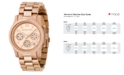 Michael Kors Women's Runway Rose Gold Plated Stainless Steel Bracelet Watch 38mm MK5128