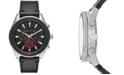 A X Armani Exchange Men's Chronograph Black Leather Strap Watch 46mm