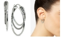 """Giani Bernini Small Textured Triple Hoop Earrings in Sterling Silver, 1"""", Created for Macy's"""