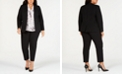 Bar III Trendy Plus Size Open-Front Jacket, Printed Blouse & Straight-Leg Pants, Created for Macy's