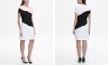 Tommy Hilfiger Scuba Crepe Diagonal Colorblock Shift Dress