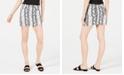 Tinseltown Juniors' Snake-Embossed Denim Mini Skirt
