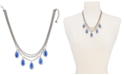 """Alfani Silver-Tone Blue Stone Three-Row Frontal Necklace, 18"""" + 3"""" extender, Created for Macy's"""