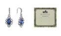 Downton Abbey Silver-Tone Blue Crystal Oval Drop Earrings