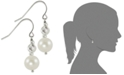 Macy's Cultured Freshwater Pearl and Rhodium-Plated Sparkle Bead Earrings in Sterling Silver (7.5mm)