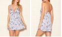 iCollection Satin Hummingbird Print Chemise Nightgown, Online Only