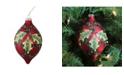 "Northlight 4.75"" 120mm Holiday Moments Geometric Plaid Mistletoe Finial Glass Christmas Ornament"