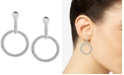 Anne Klein Silver-Tone Pavé E-Z Comfort Clip-On Drop Hoop Earrings