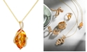 EFFY Collection Gemma by EFFY® Citrine (8-1/2 ct. t.w.) and Diamond (1/8 ct. t.w.) Marquise Wrap Pendant in 14k Gold
