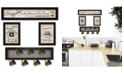 "Trendy Decor 4U Kitchen Collection VI 4-Piece Vignette with 7-Peg Mug Rack by Millwork Engineering, Black Frame, 32"" x 10"""