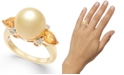 Macy's Cultured Golden South Sea Pearl (10mm), Citrine (3/4 ct. t.w.) & Diamond (1/10 ct. t.w.) Ring in 14k Gold