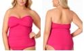 Anne Cole Plus Size Twist-Front Strapless Tankini