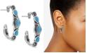 American West Turquoise (3 x 5mm) Hoop Earrings in Sterling Silver