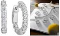 "Macy's Certified Diamond Small Graduated In & Out Hoop Earrings (1-1/5 ct. t.w.) in 14k White Gold, 0.75"""