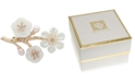 Anne Klein Gold-Tone Pavé & Mother-of-Pearl Flower Branch Pin