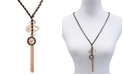 """GUESS Gold-Tone Woven Black, Imitation Pearl & Crystal Lariat Necklace, 30"""" + 2"""" extender"""