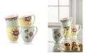 Aynsley China Archive Rose Mugs, Set of 4