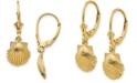 Macy's Shell Leverback Drop Earrings in 14k Yellow Gold