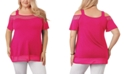 Belldini Women's Plus Size Cold-Shoulder Top