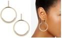 DKNY Gold-Tone Pavé Drop Hoop Earrings