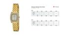Bob Mackie Women's Gold-Tone Alloy Bracelet Panther Link Square Stone Bezel Watch, 23mm
