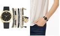 Jessica Carlyle Women's Black Polyurethane Strap Watch 36mm Gift Set