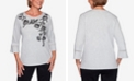 Alfred Dunner Women's Plus Size Knightsbridge Station Cascade Floral Bell Sleeve Top