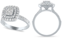 Macy's Diamond Cushion Double Halo Cluster Engagement Ring (1 ct. t.w.) in 14k White Gold