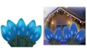 """Northlight Set of 25 Opaque Blue C7 Christmas Lights 12"""" Bulb Spacing 20 AWG - Green Wire"""