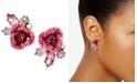 Betsey Johnson Gold-Tone Glitter Rose Mismatch Stud Earrings