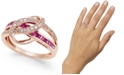 Macy's Emerald (3/4 ct. t.w.) and Diamond (1/5 ct. t.w.) Swirl Ring in 14k Gold (Also Available in Sapphire and Certified Ruby)