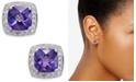 Macy's Amethyst (1-5/8 ct. t.w.) and Diamond (1/6 ct. t.w.) Stud Earrings in 14k White Gold