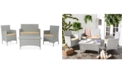 Safavieh Chrystie Wicker Outdoor 4-Pc. Seating Set (1 Loveseat, 2 Chairs & 1 Coffee Table)