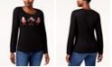 Karen Scott Petite Cotton Embellished Birds Top, Created for Macy's
