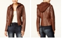 Maralyn & Me Juniors' Hooded Faux-Leather Jacket