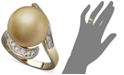 Macy's 14k Gold Ring, Cultured Golden South Sea Pearl (14mm) and Diamond (1/3 ct. t.w)
