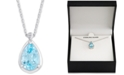 "Macy's Blue Topaz (3-5/8 ct. t.w.) & White Topaz Accent 18"" Pendant Necklace in Sterling Silver"