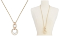 """Alfani Two-Tone Hoop Link Pendant Necklace, 32 + 2"""" extender, Created for Macy's"""