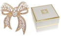 Anne Klein Gold-Tone Pavé & Imitation Pearl Bow Pin, Created for Macy's