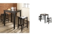 Crosley 3 Piece Pub Dining Set With Tapered Leg And Upholstered Saddle Stools