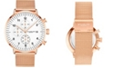 Stuhrling Men's Rose Gold-Tone Mesh Bracelet Chrono Watch 42mm