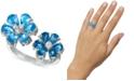 Macy's Blue Topaz (4-1/2 ct. t.w.) & Diamond (1/8 ct. t.w.) Cuff Ring in 14k White Gold